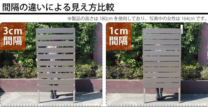 1cm間隔の目隠しフェンスと3cm間隔の目隠しフェンスの比較