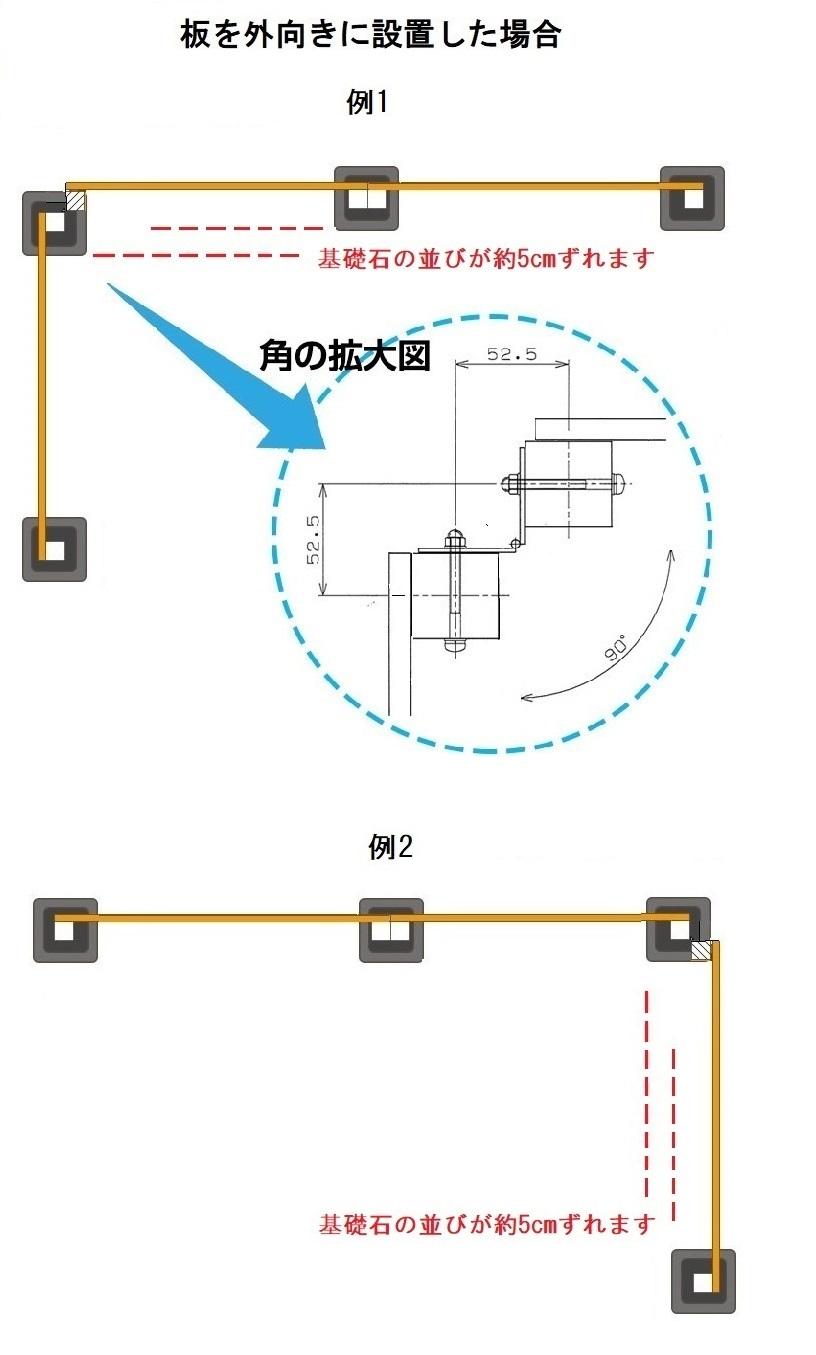 DIYフェンスコーナー3点セット外向きイメージ