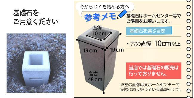 DIYフェンスの基礎石