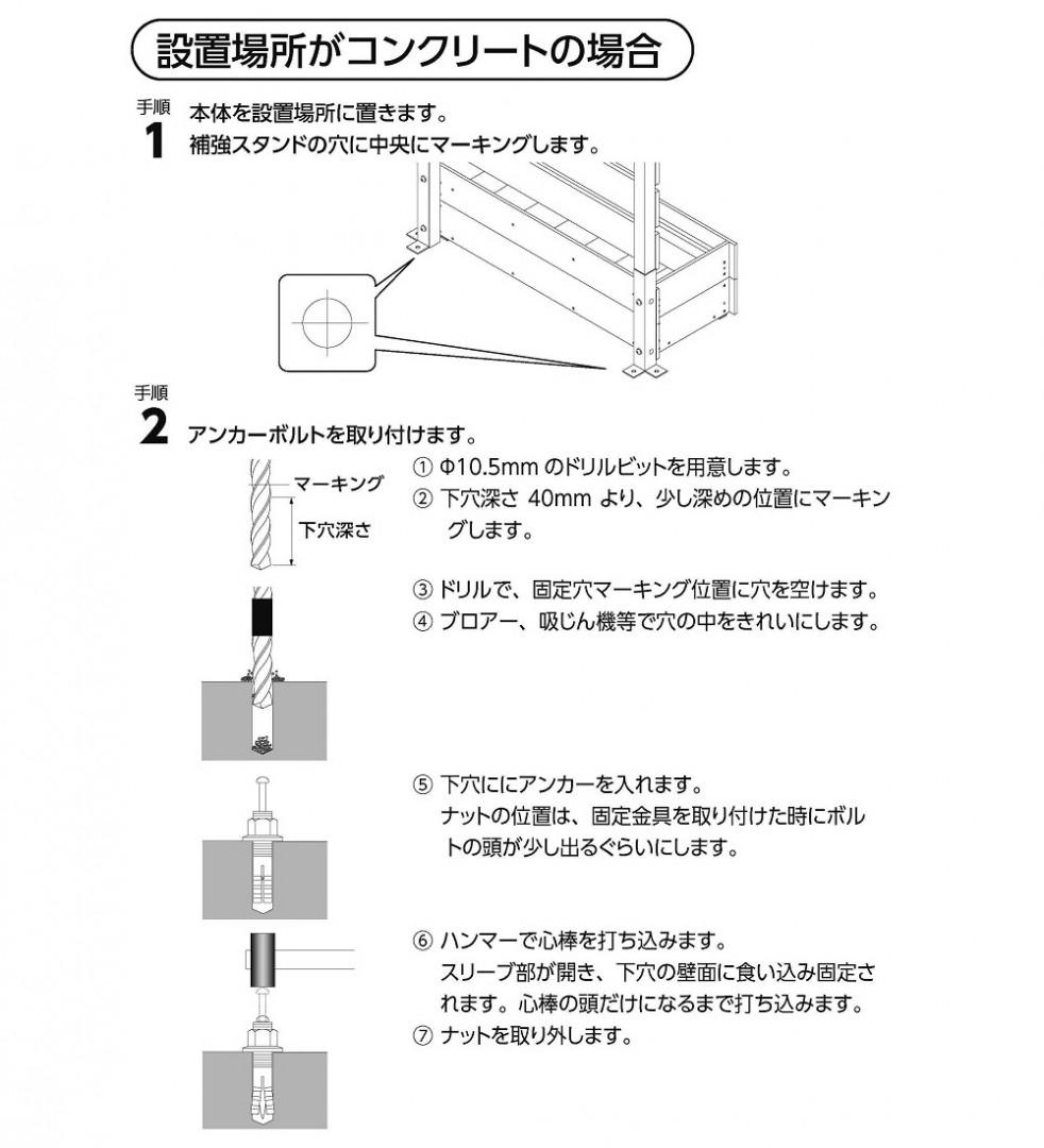 補強スタンド コンクリート用アンカー止めセット使い方2