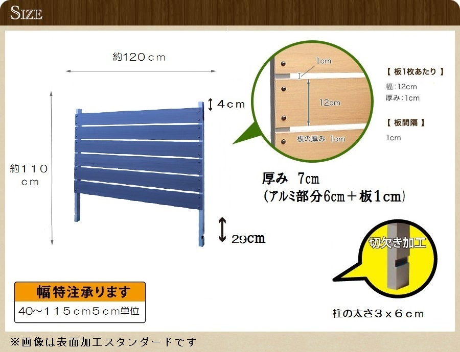 ブロック用フェンス ボーダー板間隔1cm高さ110cm幅120cm サンディングのサイズ詳細