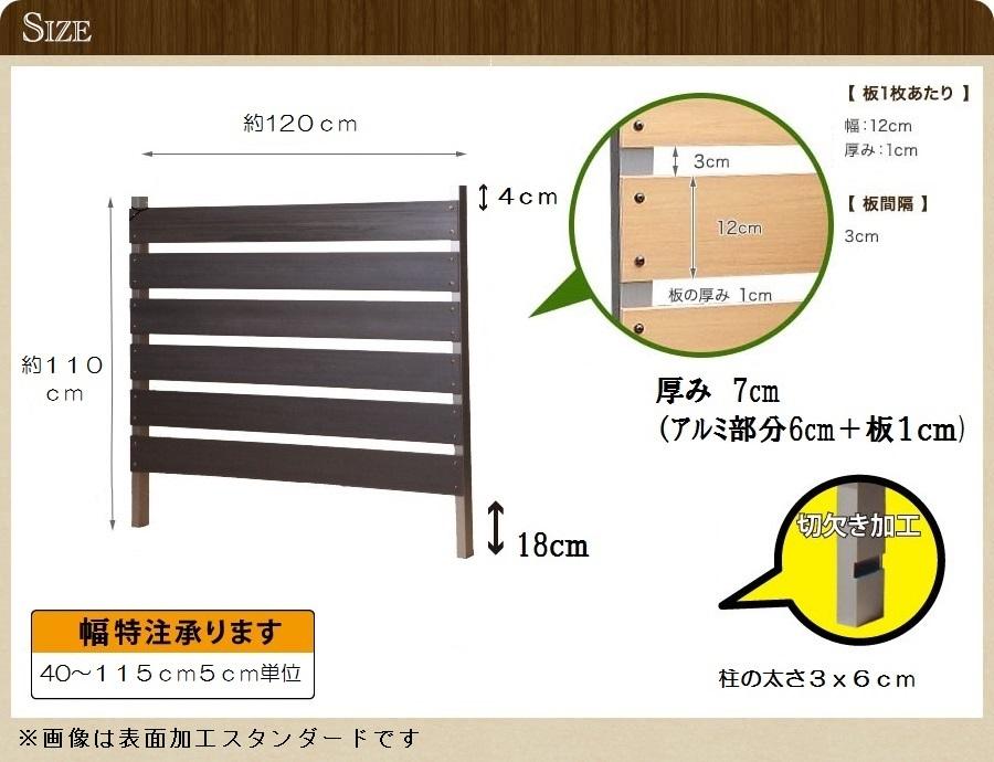 ブロック用フェンス ボーダー板間隔3cm高さ110cm幅120cm サンディングのサイズ詳細