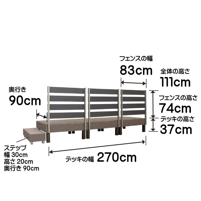 ウッドデッキ調樹脂デッキ7点セットのサイズ詳細