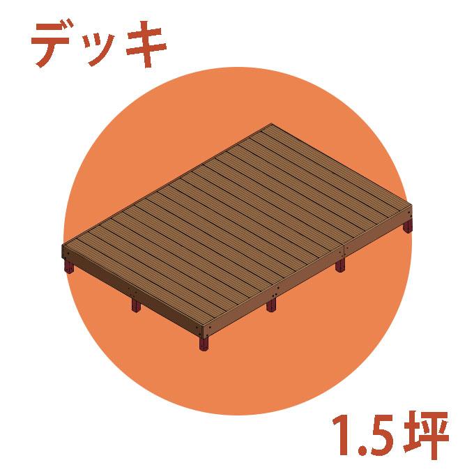 ウッドデッキ調樹脂製デッキ組立1.5坪キット