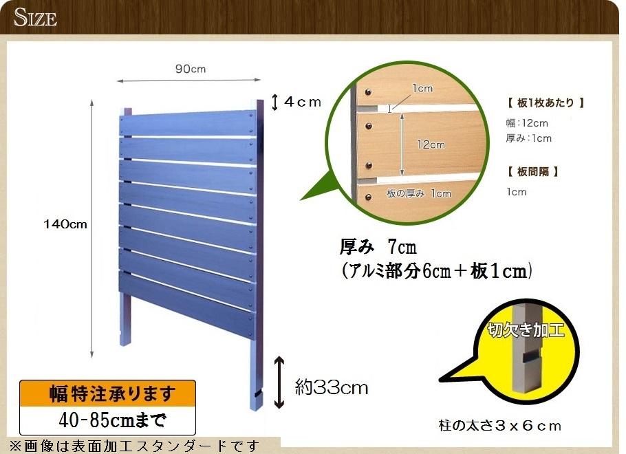 ブロック用フェンス ボーダー板間隔1cm高さ140cm幅90cm エンボスのサイズ詳細