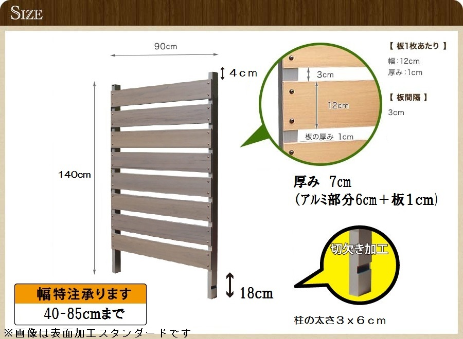 ブロック用フェンス ボーダー板間隔3cm高さ140cm幅90cm サンディングのサイズ詳細