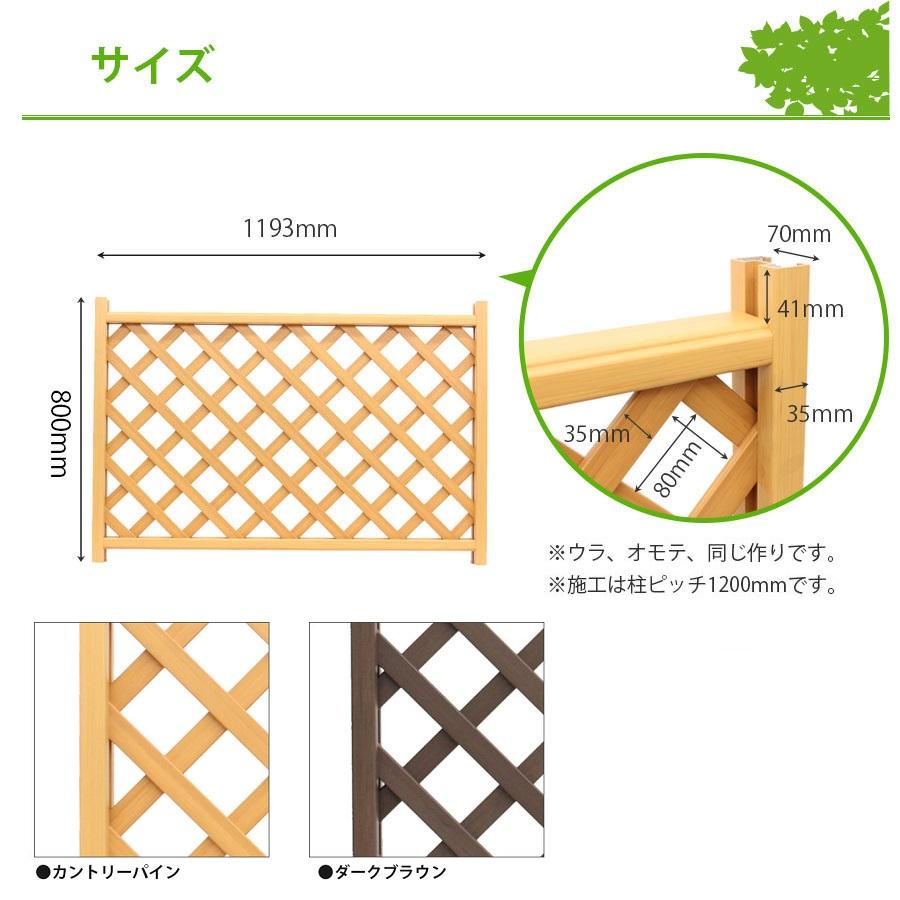 木調樹脂ラティスフェンス高さ80cm幅120cmサイズ詳細