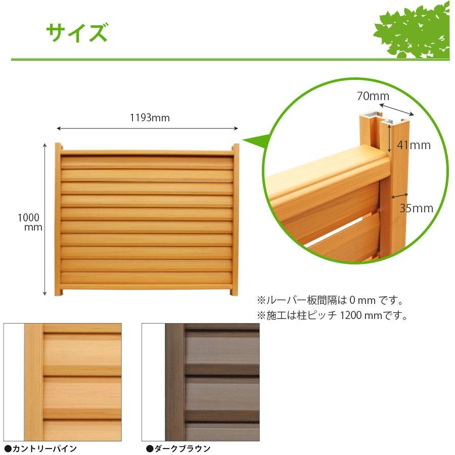 木調樹脂ルーバーフェンス高さ100cm幅120cmサイズ詳細