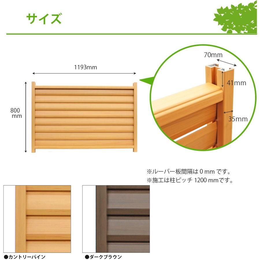 木調樹脂ルーバーフェンス高さ80cm幅120cmサイズ詳細