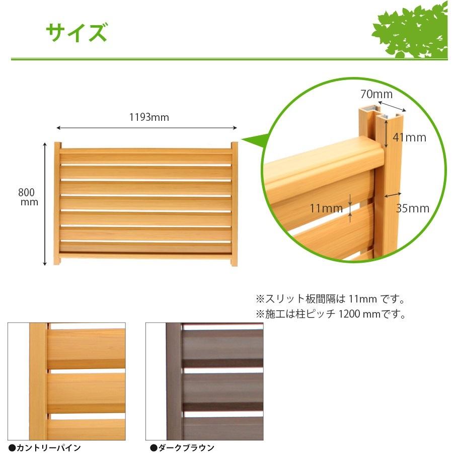 木調樹脂スリットフェンス高さ80cm幅120cmサイズ詳細