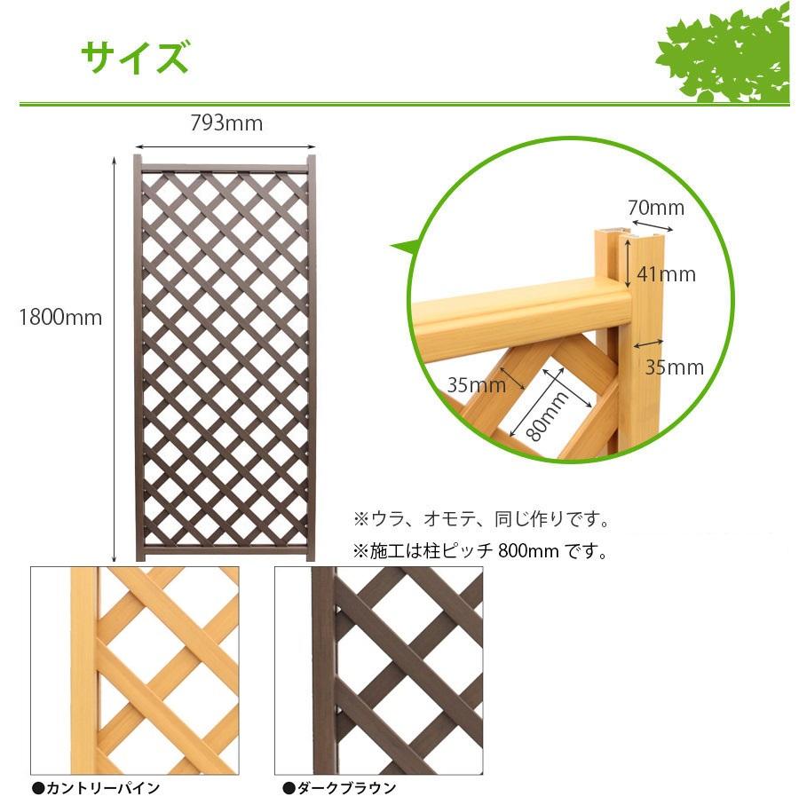 木調樹脂ラティスフェンス高さ180cm幅80cmサイズ詳細